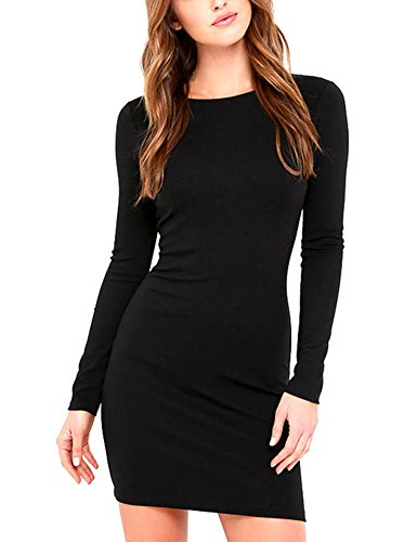 Queen.M Women's Sexy Bodycon Dress Knitting Casual Long Sleeve Club Party Slim Short Mini Dress,Black,XS(Tag S)=US2-4 (Knitting Dress Cotton)
