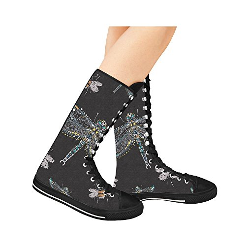 D-story Fashion Lace Up Tall Punk Dancing Canvas Botas Largas Zapatillas De Deporte Zapatos Para Mujer Multicoloured11
