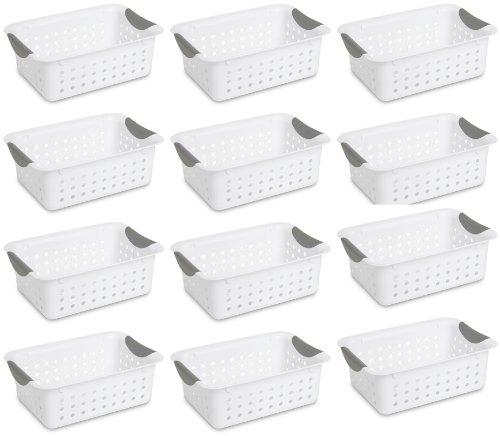 12) Sterilite 16228012 Small Ultra Plastic Storage Bin Organizer Baskets -White (non-0903) by Supernon