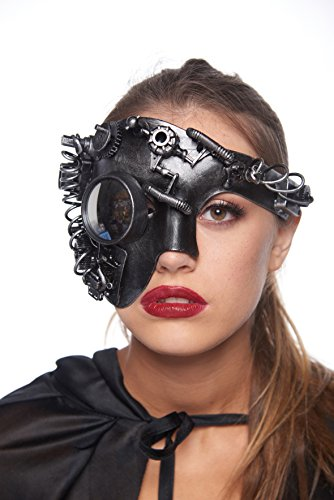Half-Face Steam Punk Masquerade Mask with Bolts, Cogs, Springs & Eyepiece (Unisex; One Size Fits Most; Silver) ()