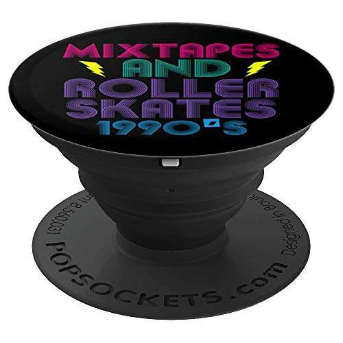 (Mixtapes And Roller Skates 90s Cassettes Era Music Funny PopSockets Grip and Stand for Phones and Tablets)