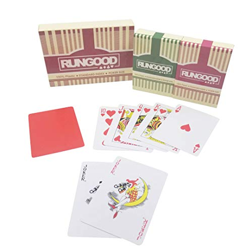 (RUNGOOD Playing Cards, 100% Plastic Premium Quality, 2-Deck Set Poker Size, w/ 2 Cut Cards; Standard or Jumbo Index; Professional Casino Style Playing Cards for NLH PLO Poker (Poker Standard Index))