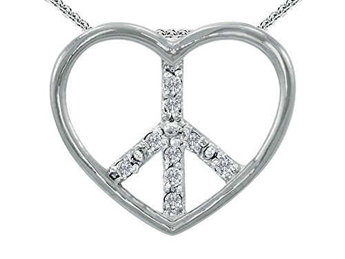 Tommaso Design 10k Gold Peace Sign Heart Pendant Necklace - Diamond Peace Pendant