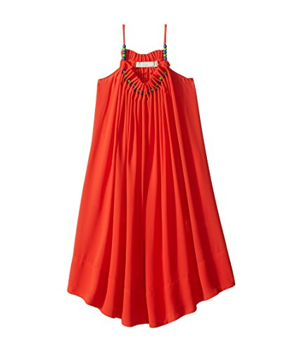 Stella McCartney Kids Baby Girl's Hope Flowing Crepe Dress w/Beaded Neckline (Toddler/Little Kids/Big Kids) Red/Orange Youth 12 Big by Stella McCartney Kids