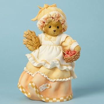 Enesco Cherished Teddies Collection Bear Holding Basket Tall Figurine