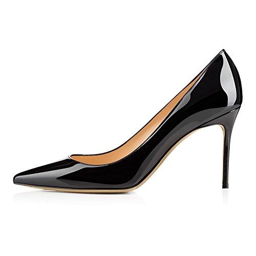 KJJDE Mujer Alta Tacón Mejorar Sandalias TLJ-1807 Dedo Puntiagudo De Tacón Alto De Sexy Fiesta Baile Zapatos, Black,44