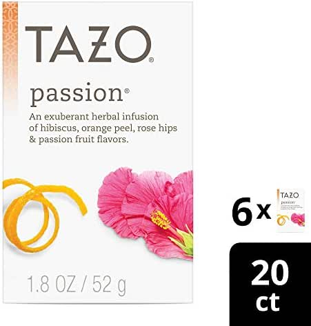 Tazo Passion Herbal Tea Filterbags, 20 Count (Pack of 6)