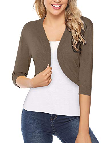 iClosam Women Open Front Cardigan 3/4 Sleeve Long Sleeve Cropped Bolero Shrug (Camel, Small) ()