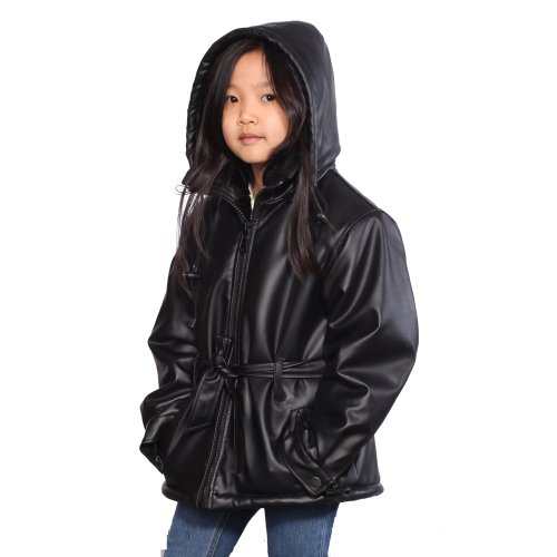 Wilda Girl's 3/4 Leather Parka with Removeable Hood-4XL-Black by Wilda
