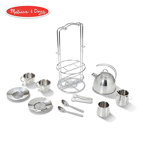 Schylling Childrens Tea Set - Melissa & Doug Stainless Steel Pretend Play Tea Set and Storage Rack for Kids (11 pcs)