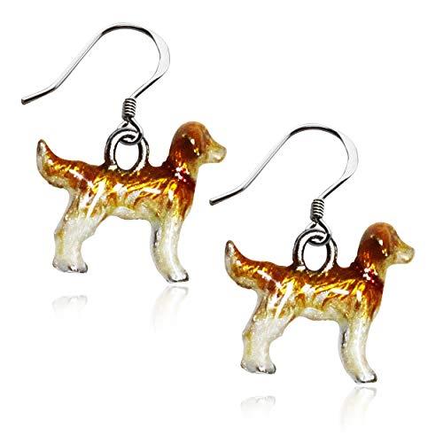 - Golden Retriever Dog Charm Earrings in Silver (Golden Retriever, Silver)
