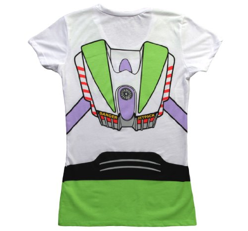 Toy Story Buzz Lightyear Juniors Astronaut Costume White T-shirt (Juniors X-Large) by Toy Story (Image #1)