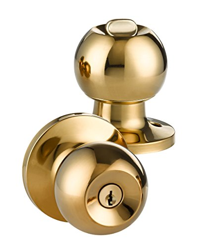 - LOKĖT Entry Ball Door Knob, Lock Set by, Polished Brass