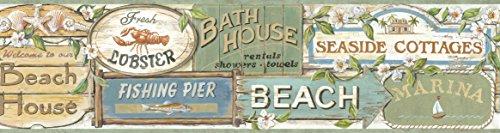 Chesapeake BBC46023B Captain Moss Seaside Signs Portrait Wallpaper Border, Blue