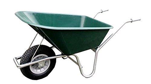 Grüne Schubkarre - Tiefmuldenkarre 100L verzinktes Gestell mit ausgeschäumten Rad (Smart-Wheel) von HausundWerkstatt24