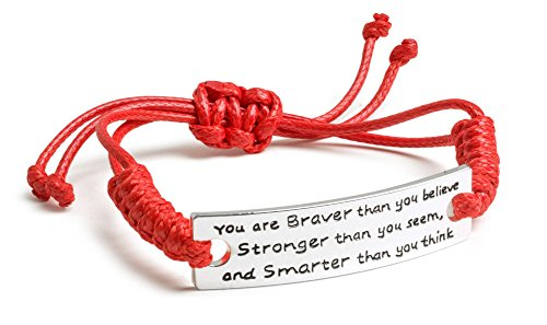 - Inspirational Jewelry Bracelet - You are Braver & Stronger Than You Think Quote - Silver Charm Wrap - Engraved Sayings for Inspiration, Motivation for Women, Men, Teens, Girls.