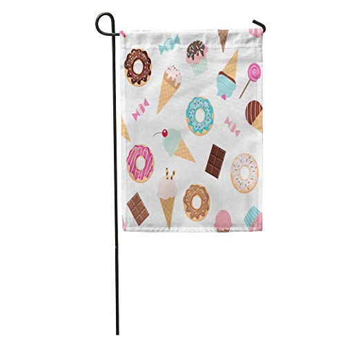 Dinzisalugg Garden Flag Colorful Birthday Sweets Ice Cream Donuts Cupcakes Chocolate Bar Candies Home Yard House Decor Barnner Outdoor Stand 12x18 Inches -