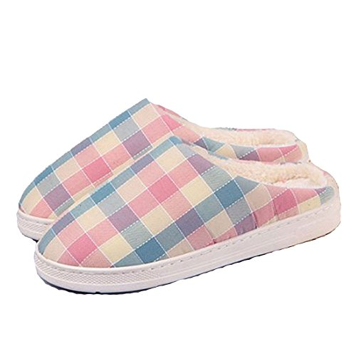 New Home Plush Cotton Latticed Slepper (Women 9 Inch, Pink) (Dream Genie Child Costume)