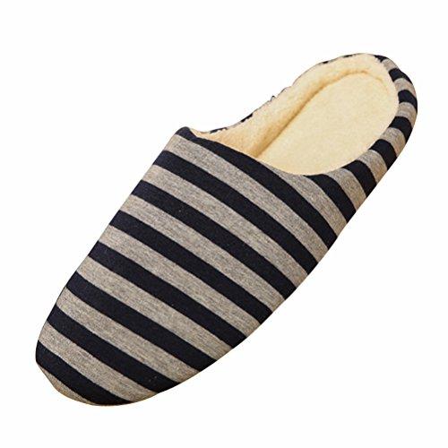 LUOEM Pantofole Interne Unisex Pantofole morbide a Righe Calde Pantofole Invernali Cotone Autunno per Uomo Donna - Taglia 44/45 (Blu Scuro)