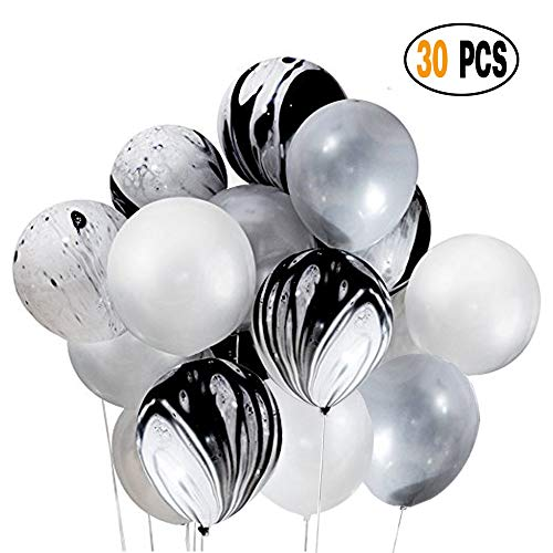 DIvine 30 Pcs 12 Inch Black Silver White Balloons Set, Black Agate Marble Tie Dye Swirl Balloons, Silver and White Latex Balloons for Birthday Party Decorations Wedding Baby Showers Graduation ()