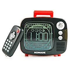 Retro Mini Television LED Alarm Clock with Date Display Remote Control Music Bell Colorful Light - Color: Red