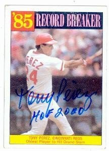 Tony Perez autographed Baseball Card (Cincinnati Reds) 1986 Topps #205 Record Breaker - Autographed Baseball (Tony Perez Autographed Baseball)