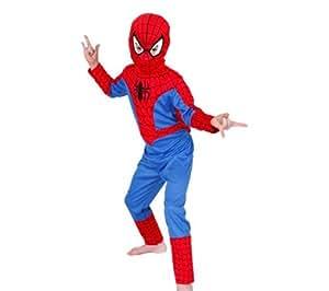Marvel Spiderman traje clásico. Mono y máscara de tela. Grandes 7-8 años