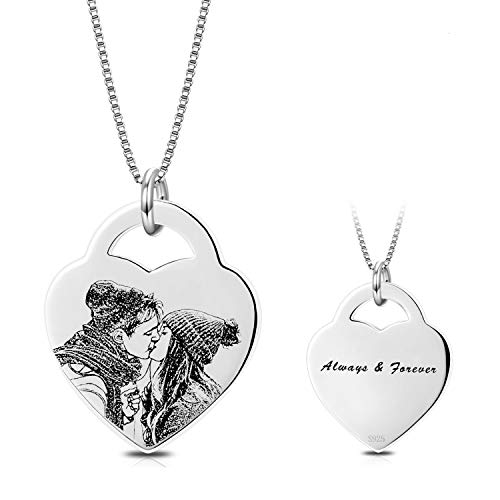 (LONAGO Personalized Photo Necklace Heart Custom Engraved Pendant Tag Christmas Birthday Gifts for Women (Heart-Sterling Silver, 20))