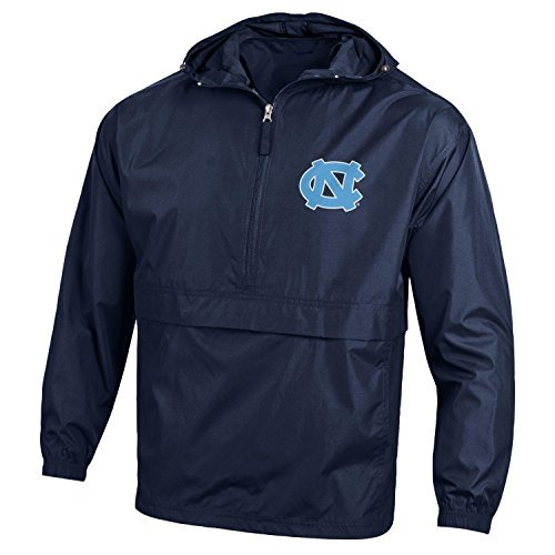 Champion NCAA Men's Half Zip Front Pocket Packable Jacket, North Carolina Tar Heels, Large