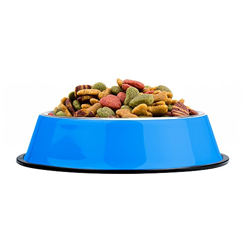 Image of Weebo Pets Blue No-Tip No-Slip Stainless Steel Bowl (24oz. Bruiser)