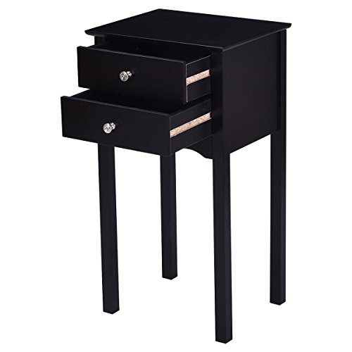 30'' Black Accent Nightstand Side End Table w/ 2Drawer with Ebook by AyaMastro (Image #3)