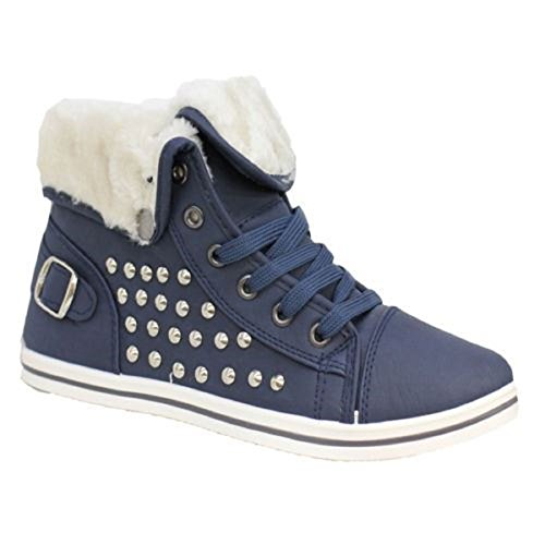Womens Boots Ankle Pumps High Top Shoes Trainer Plimsole With Sneaker Navy Fur Studs Ladies Lined KOLLACHE Cy41dKy