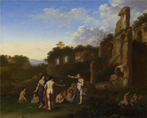 The Perfect Effect Canvas Of Oil Painting 'Cornelis Van Poelenburgh - Women Bathing In A Landscape,about 1630' ,size: 18x22 Inch / 46x57 Cm ,this Vivid Art Decorative Prints On Canvas Is Fit For Powder Room Artwork And Home Gallery Art And Gifts