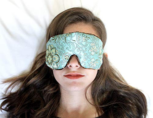 (Sleep Eye Mask Handmade by Candi Andi - Adjustable Strap - Travel - Lavender Scented or Unscented - Colorful Dual Sided Satin Brocade and Crushed Velvet - Blue Lagoon - TEML-BL)