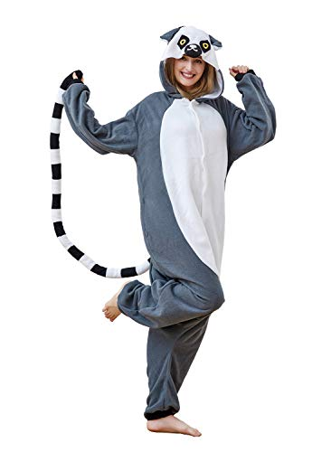 Xiqupjs Grey Lemuroid Pajamas Unisex Adult Animal Cosplay Costume Onesies One-Piece Gift for Valentine Small -