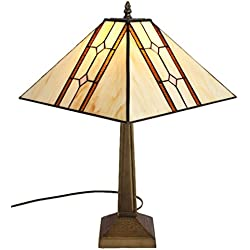 Amora Lighting AM1050TL13 Tiffany Style Mission Table Lamp, 17.7-Inch, Multi