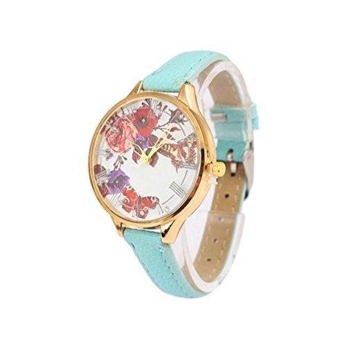 Lucoo Fashion Luxury Beautiful Ladies Women's Floral Print Quartz Watch PU Leather Strap under 10 dollar (Mint Green)