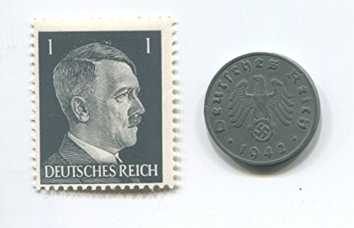 Rare Nazi Swastika 1 Reichspfennig German Coin World War Two WW2 with Black Hitler Head Stamp MNH