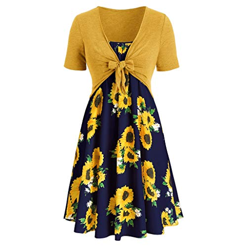 Voltina Women Dresses Suit Casual Summer Short Sleeve Bow Knot Cover Up Tops Sunflower Print Strap Pleated Dresses Navy