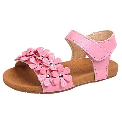 (Nevera Baby Girl Flower Open Toe Strap Flat Sandal Sandals(Toddler/Little Kid) Pink)