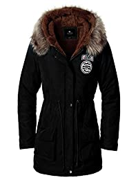 Escalier Women`s Faux Fur Lined Hooded Winter Parkas Coats