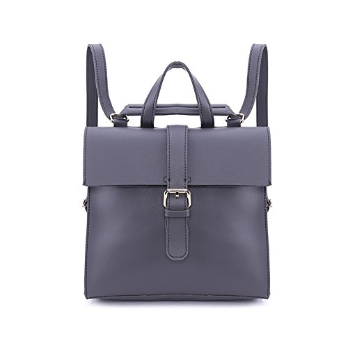SIMPLE amp; Shoulder Women Leather Grey Casual POCKET Backpack PU Bag TtwrqnTX0x