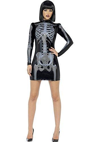 [Smiffy's Women's Fever Skeleton Halloween Costume Women: 8-10 Black] (3d Skeleton Zombie Costumes)