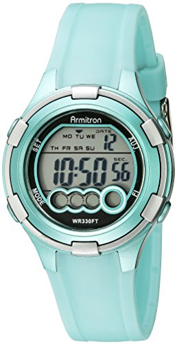 Armitron Sport Women's 45/7053LTG Digital Light Green Resin Strap (Digital Resin Strap Watch)