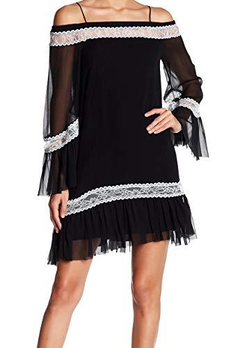 - alice + olivia Women Willie Cold Shoulder Lace Dress Silk Black 0