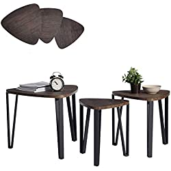 Coffee Table Set of 3 End Side Table Night Stand Table Nesting Corner Table Stacking Telephone Tea Table Brown Modern Leisure Wood Table With Metal Tube For Living Room Waiting Room Balcony and Office