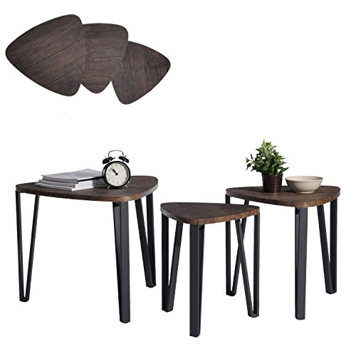 Living Room Modern Side Table - Coffee Table Set of 3 End Side Table Night Stand Table Nesting Corner Table Stacking Telephone Tea Table Brown Modern Leisure Wood Table With Metal Tube For Living Room Waiting Room Balcony and Office