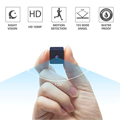Waterproof Mini Hidden Spy Camera, Sunggo 1080P Portable Small Camera with Motion Detection and Night Vision,12MP 155 Degree Wide Angle Nanny Camera, Perfect Surveillance Camera for Home and Office.