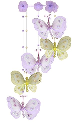 The Butterfly Grove Chloe Butterfly Nursery Mobile Hanging Nylon Layered Decor, Purple/Yellow (Butterfly Nursery Hanging)