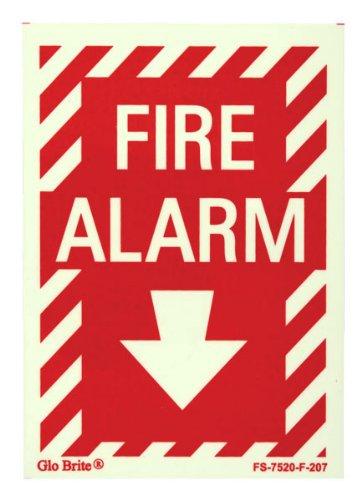 Jessup Glo Brite Fire Alarm Sign with Arrow (5-Inch x 7-Inch)